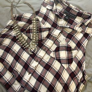 Polly & Esther Flannel Button-Down Tank